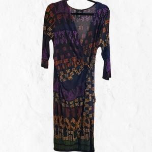 Lemmie multicolored print wrap dress, sz Large